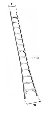 Flat Step, Flared Base Single Section Industrial Aluminum Ladders