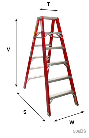 Heavy Duty Fiberglass Industrial Double Step Ladders
