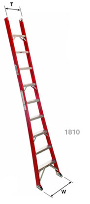 Flat Step, Flared Base Single Section Industrial Fiberglass Ladders